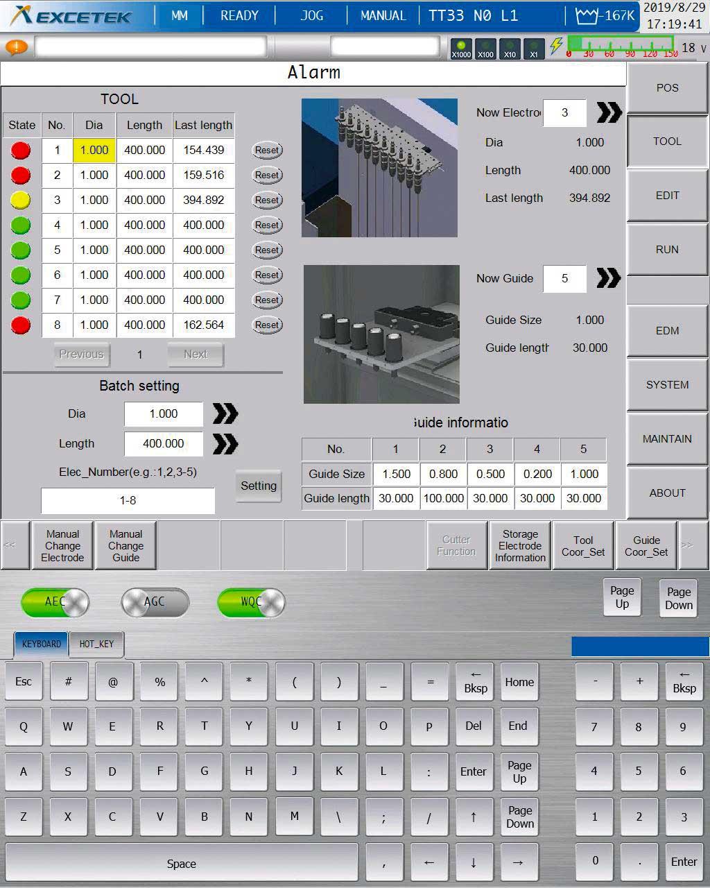 CNC Display of Excetek HD Superdrills