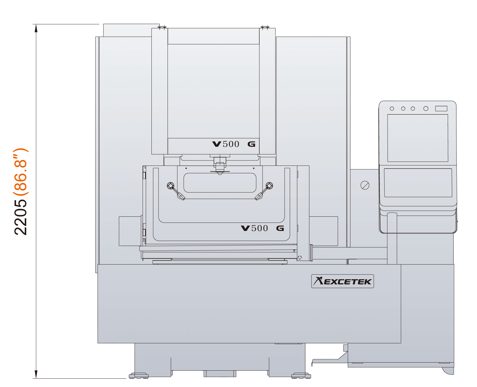 Excetek V500G dimensions front